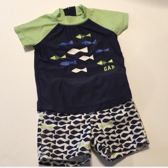 c47c00d076 GAP Swim | Baby Boy Fish Trunks And Rash Guard | Poshmark